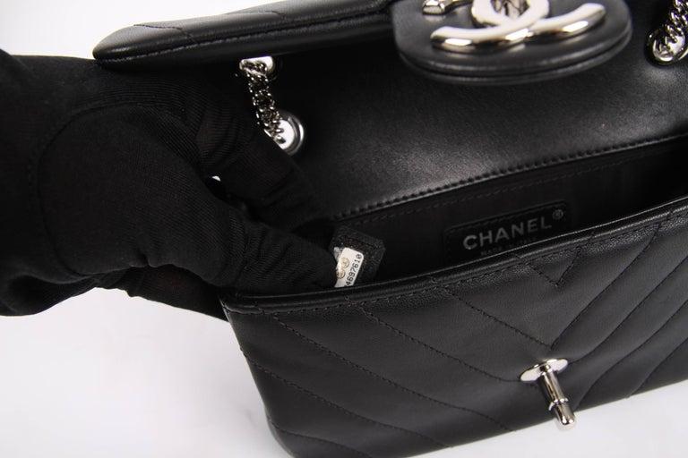 a08c642578bb Chanel Mini Chevron Quilted Rectangular Flap Bag - black at 1stdibs