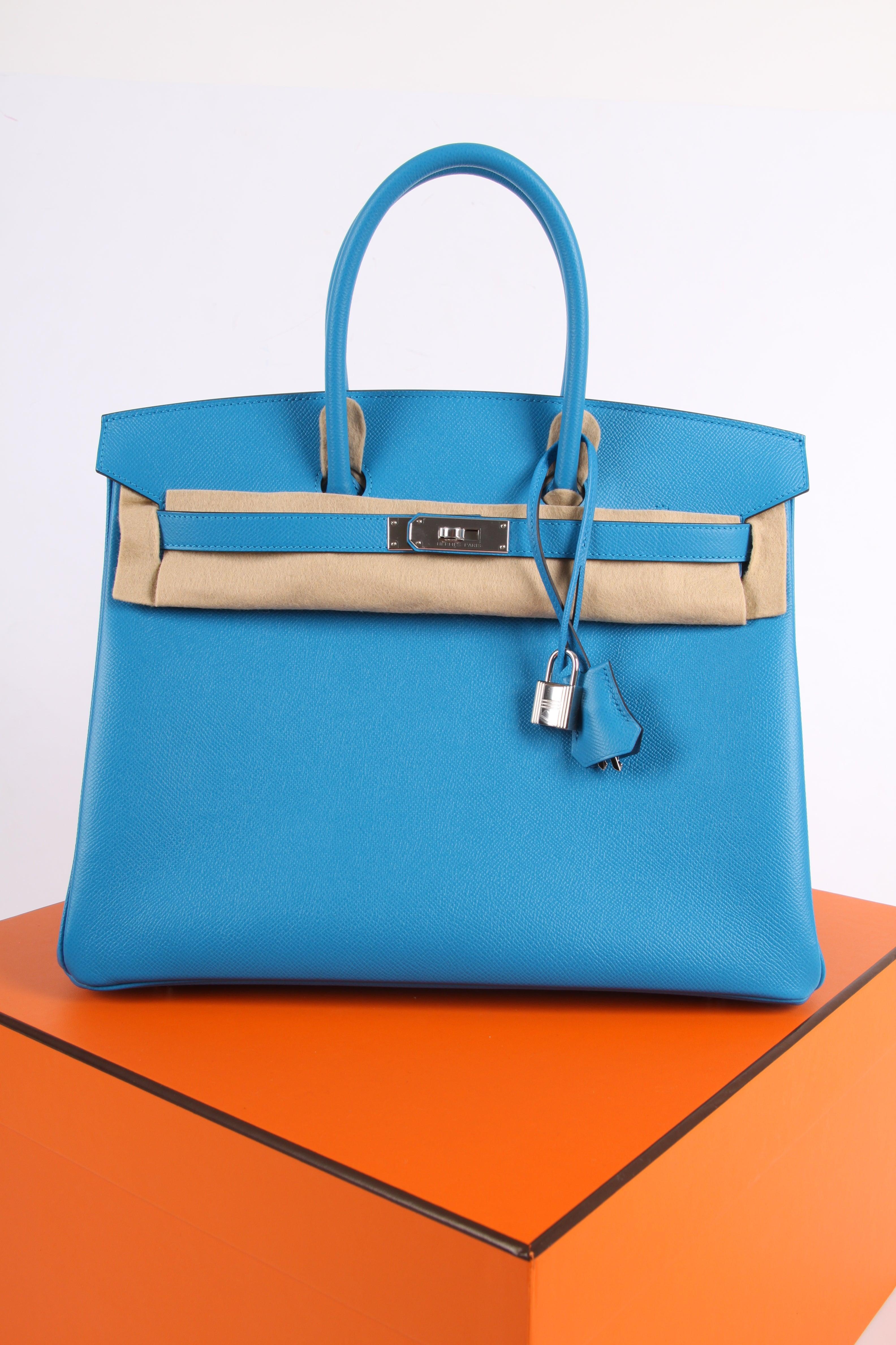 aa204f222eec Hermes Birkin Bag Epsom 35 Bleu Zanzibar Palladium Hardware - blue For Sale  at 1stdibs