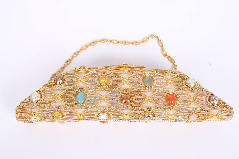 Edidi Crystal and Rhinestone Mesh Clutch - gold/multi-color In Excellent Condition For Sale In Baarn, NL