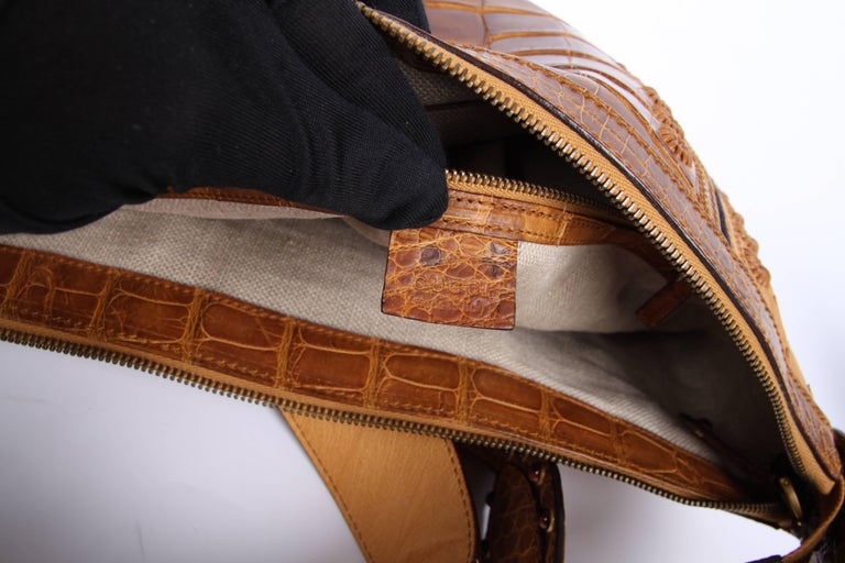 70ecd8d5b9f Brown Gucci Pelham Shoulder Bag Ostrich   Crocodile leather - brown ...