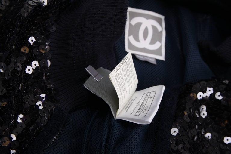 Chanel Sports Line Sequin Bomber Jacket - dark blue For Sale 2