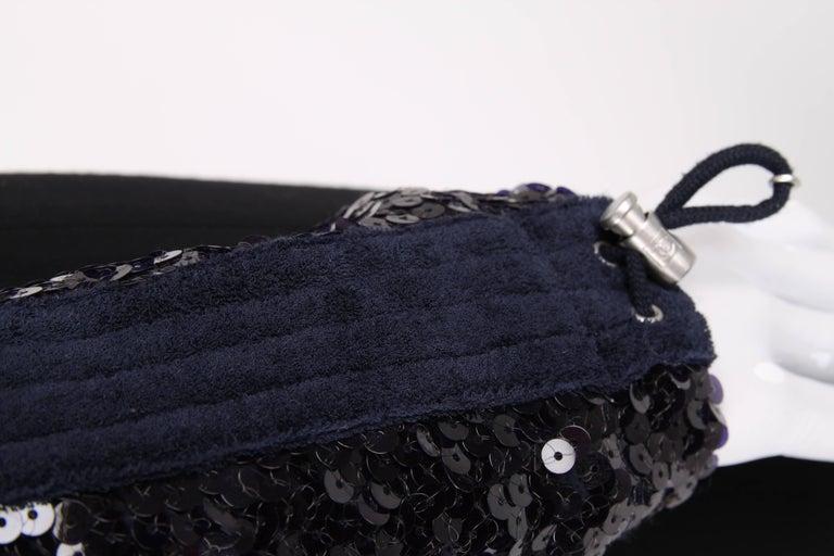 Chanel Sports Line Sequin Bomber Jacket - dark blue For Sale 1