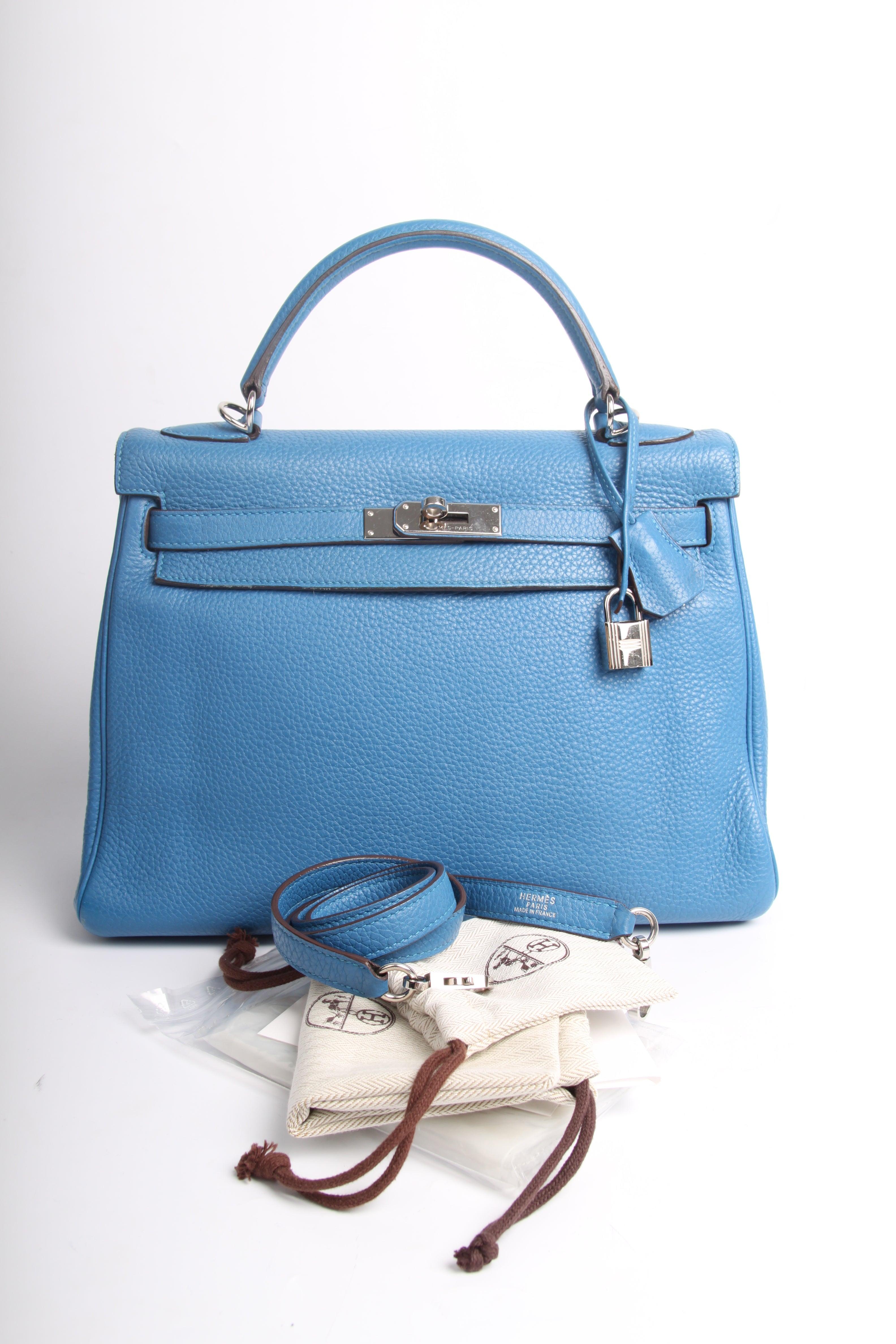 8211ddd49bb4 Hermes Kelly 32 Togo Leather - Izmir Blue at 1stdibs