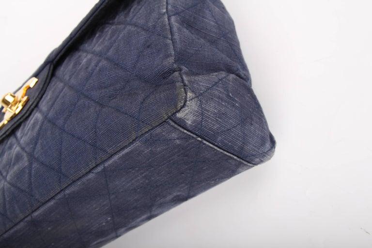 Chanel 2.55 Timeless Maxi Denim Single Flap Bag - blue 1991 For Sale 4