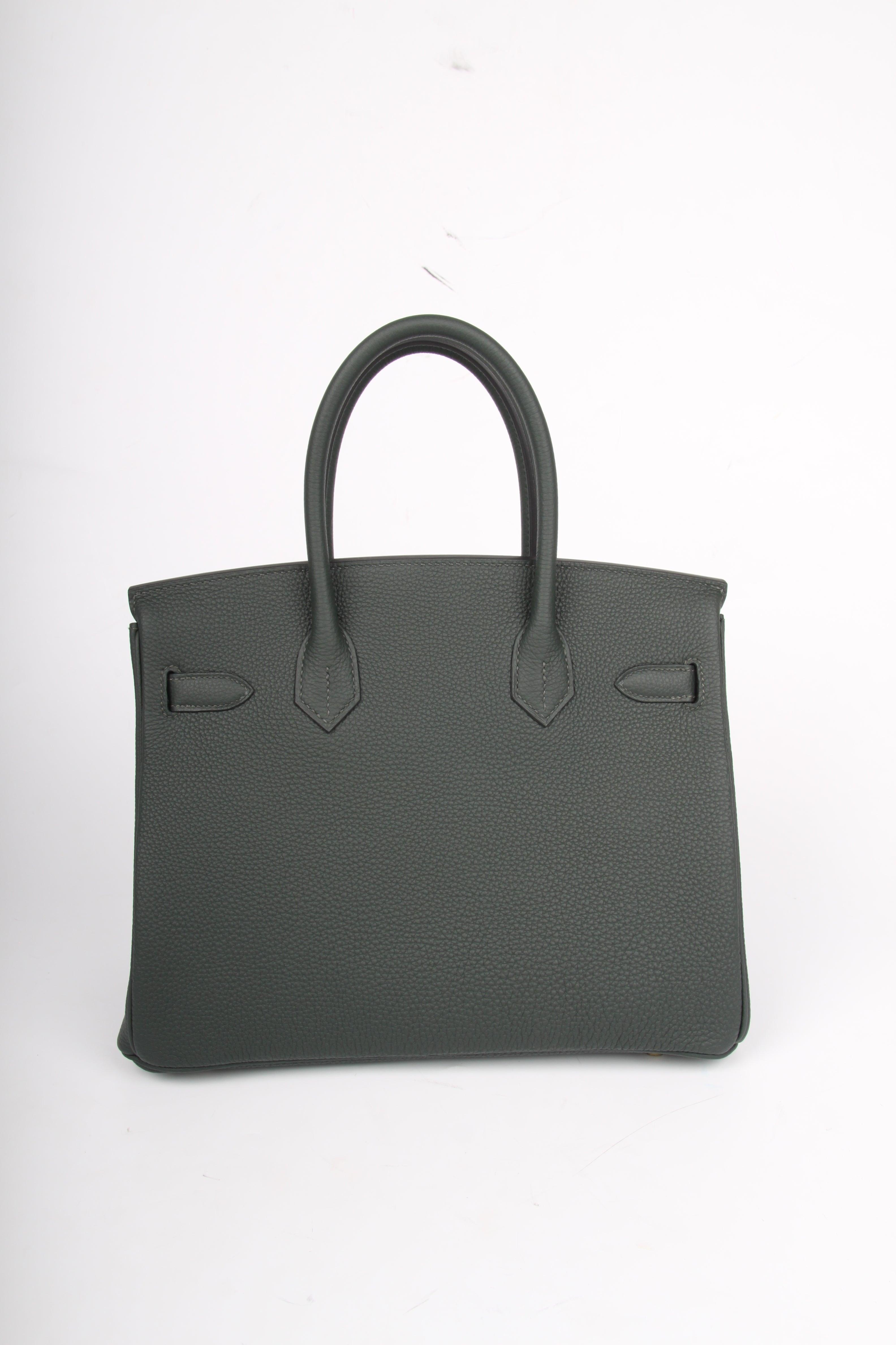 Hermes Vert Fonce gold hardware Birkin 30 Bag a099def18bdc2