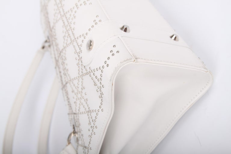5e19c6d87d4d Lady Dior white leather East West Studded Bag For Sale at 1stdibs