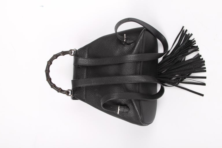 909fcc782f00 Women's or Men's Gucci Bamboo Tassel Leather Backpack - black For Sale
