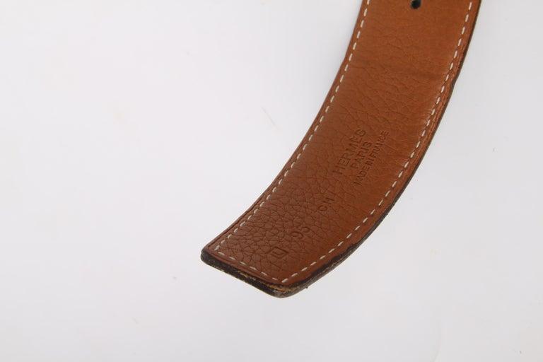 Black Hermes Reversible 'H' Belt - black/brown