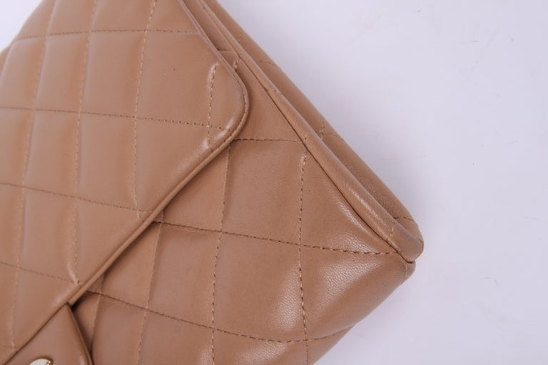 Chanel Quilted Clutch with Chain - beige For Sale 3