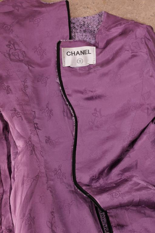 Gray Chanel Purple Boucle Dress For Sale