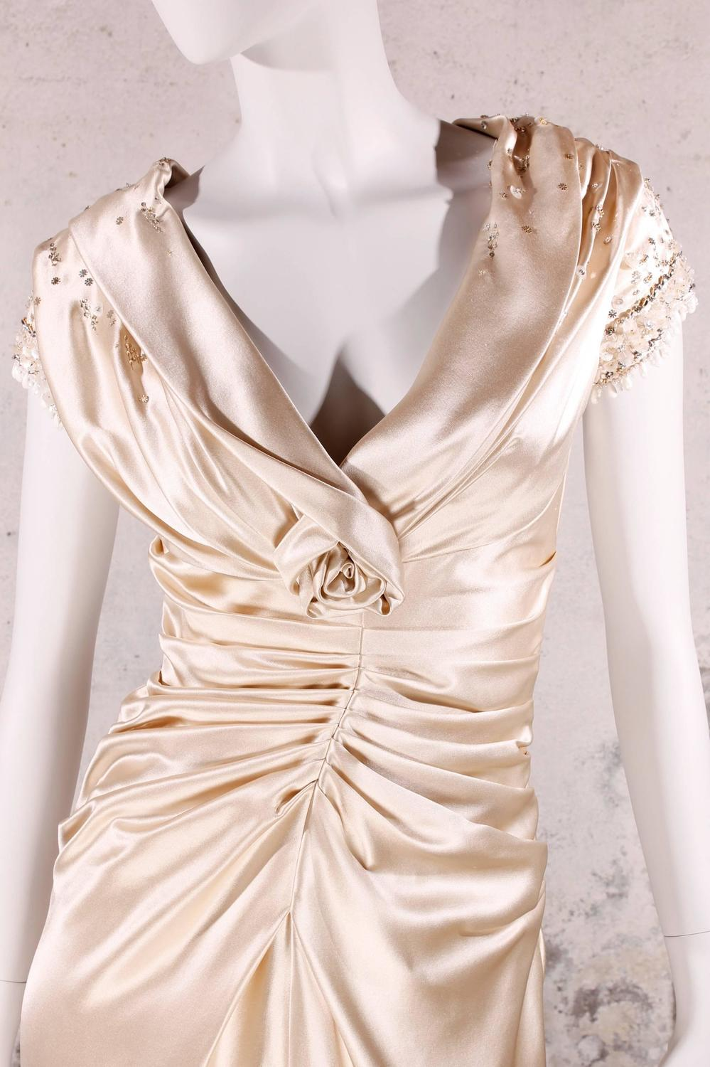 b3b53bb406 Christian Dior Champagne-colored Evening Gown at 1stdibs