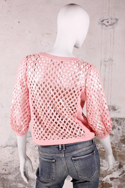 Chanel Sequin Cardigan - baby pink 2