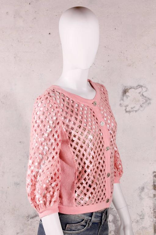 Chanel Sequin Cardigan - baby pink 4