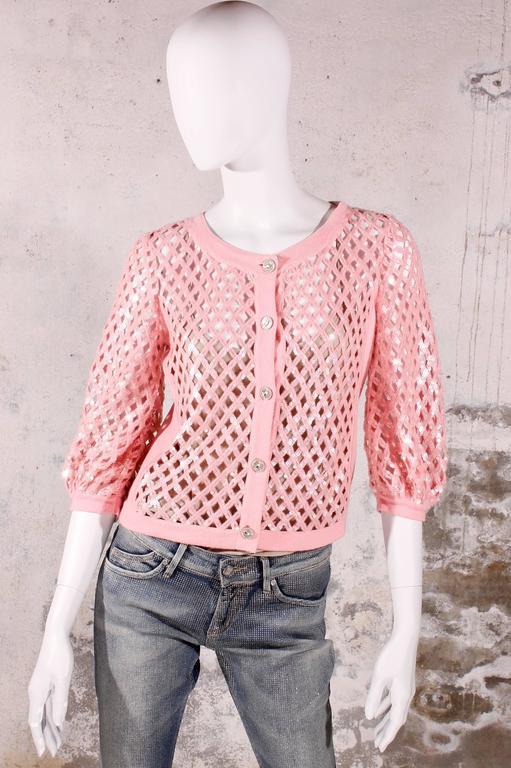 Chanel Sequin Cardigan - baby pink 5