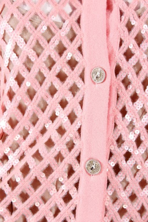 Chanel Sequin Cardigan - baby pink 3