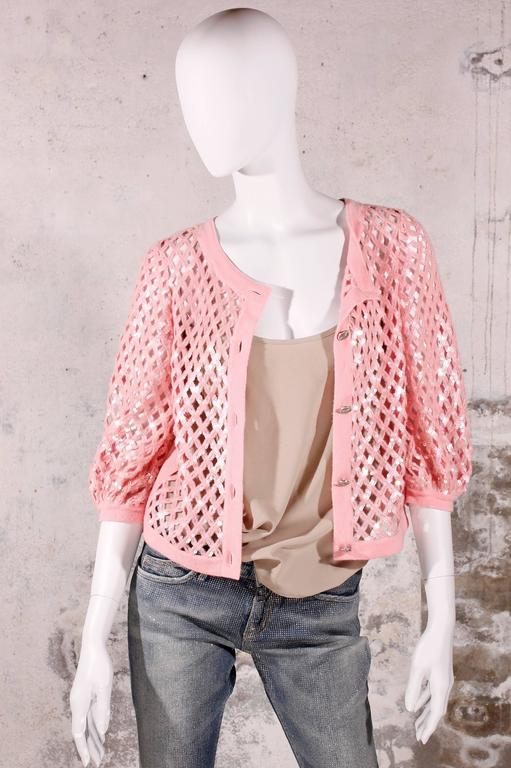 Chanel Sequin Cardigan - baby pink 6