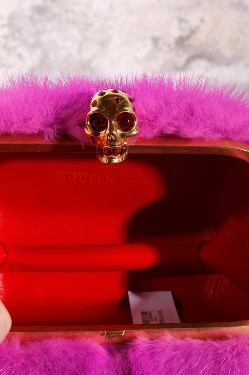 Purple Alexander McQueen Skull-Clasp Mink Box Clutch Pink For Sale