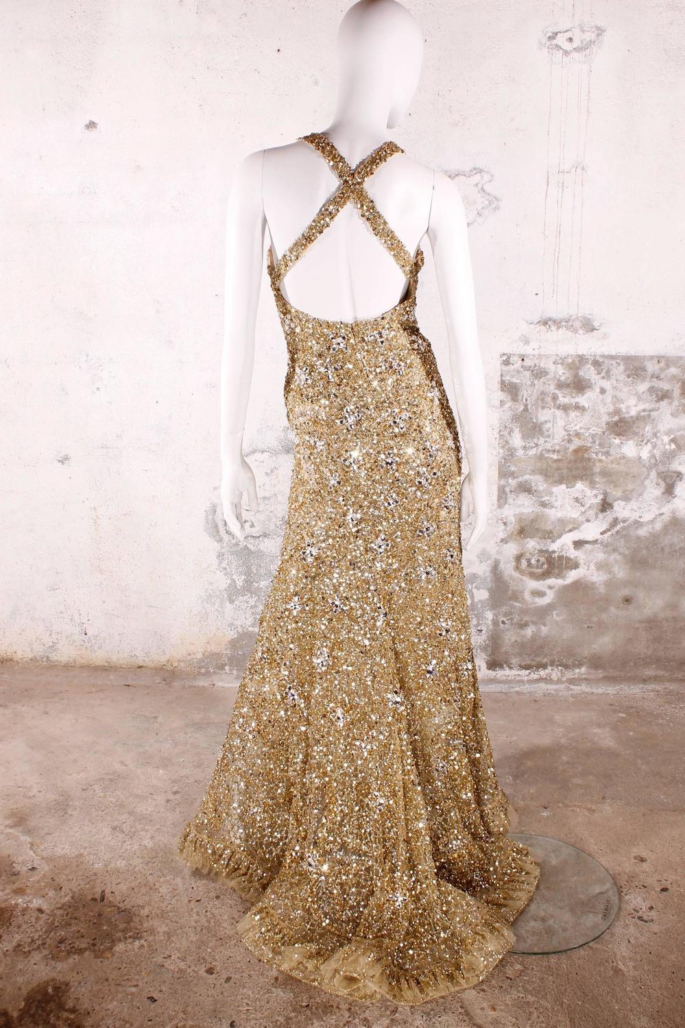 Elie saab haute couture evening gown golden beads and for Haute couture sale