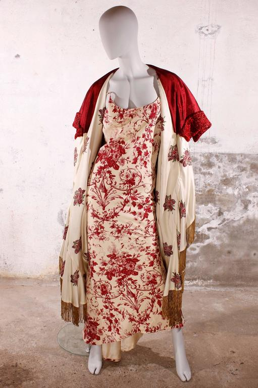 Christian Dior Evening Dress and Cape - red/ivory flowerpattern 2