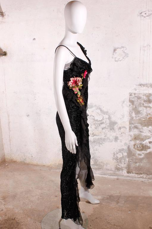 Women's Christian Dior Evening Dress Black/Flowers For Sale