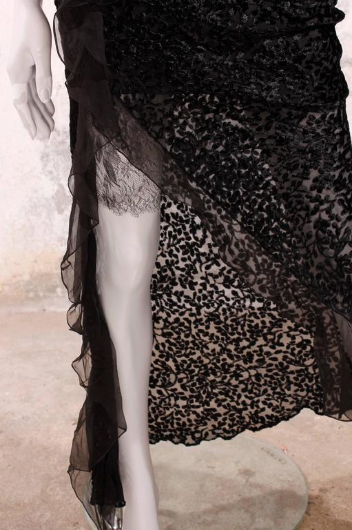 Christian Dior Evening Dress Black/Flowers For Sale 1