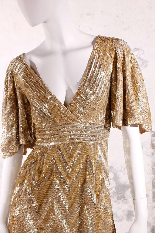 Brown Elie Saab Cocktaildress Gold - sequins & beads For Sale