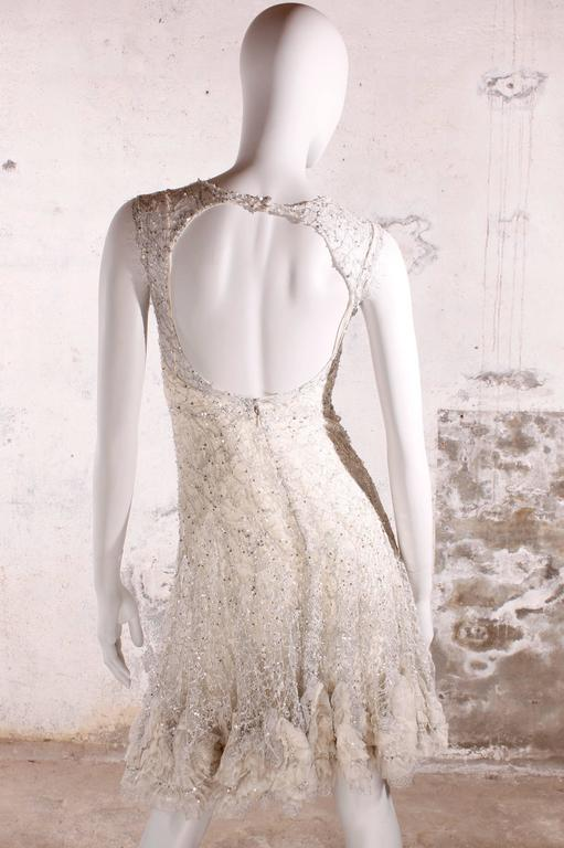 Elie Saab Haute Couture Cocktail Dress - white lace/silver sequins 2