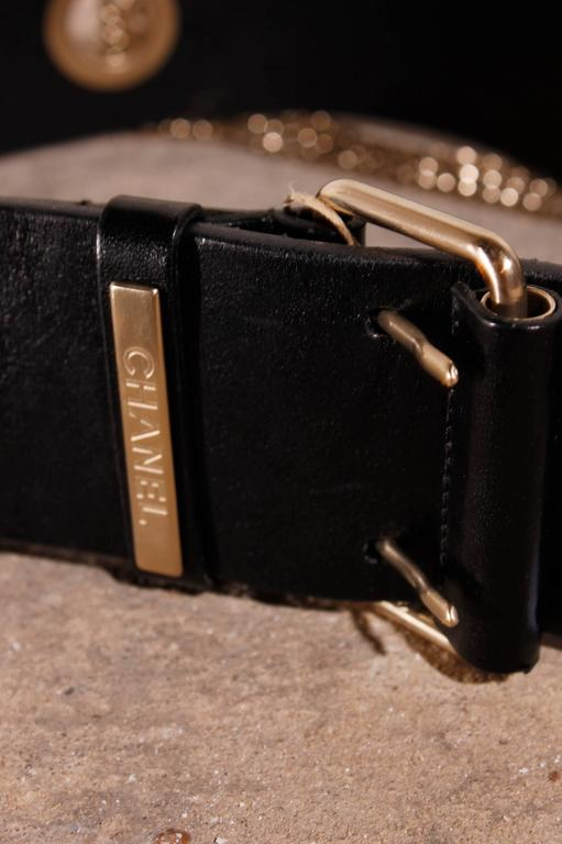 Chanel Leather Belt with Silver Chains CC-logo 3