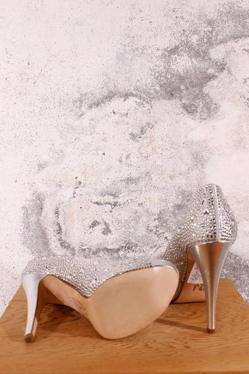 Gina High Heels Peep Toe Silver Rhinestones Crystals At