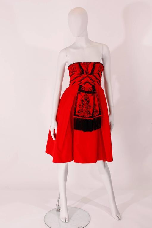 Women's Dior Strapless Dress - red/black