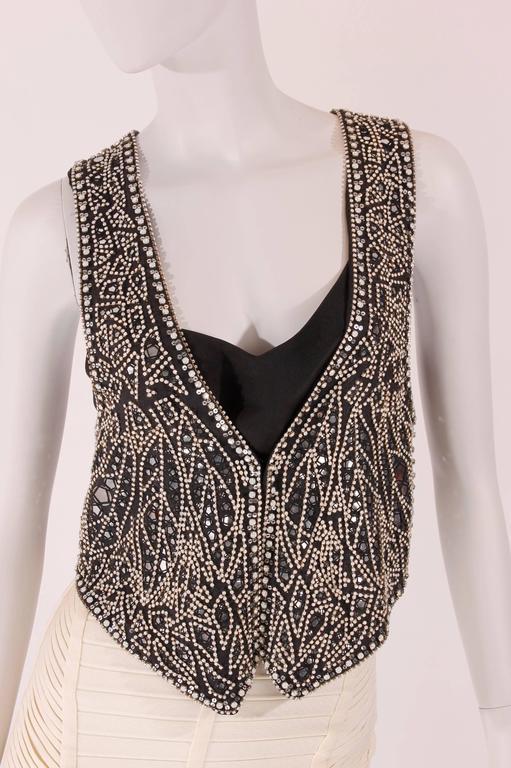 Balmain black linen studded vest 3
