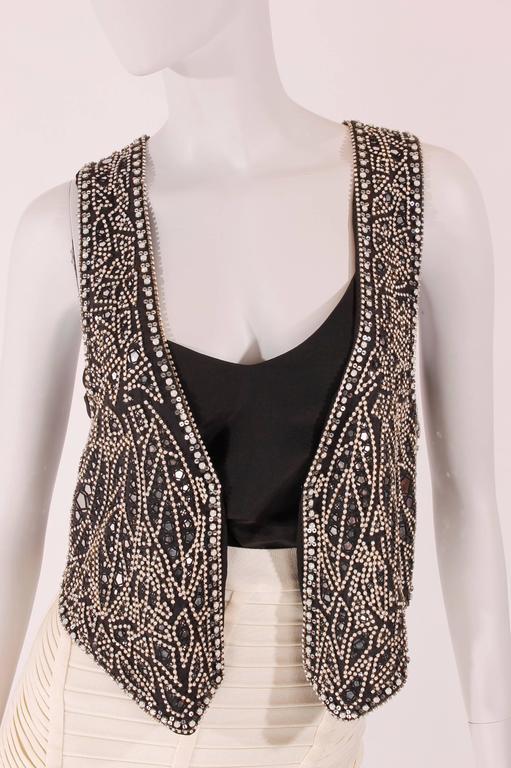 Balmain black linen studded vest In New never worn Condition For Sale In Baarn, NL