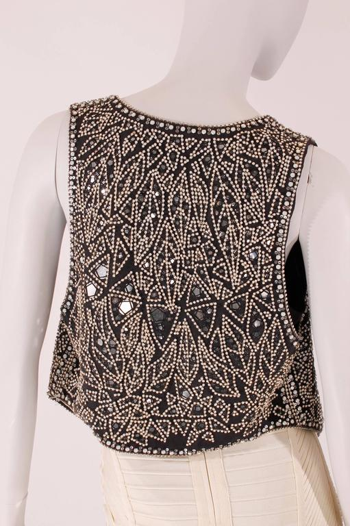 Women's Balmain black linen studded vest For Sale