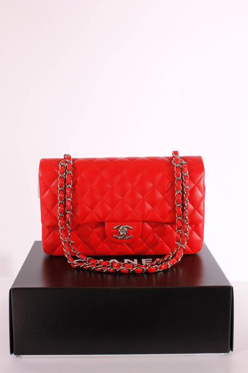 2005 Chanel 2.55 Medium Classic Double Flap Bag - red/silver 2