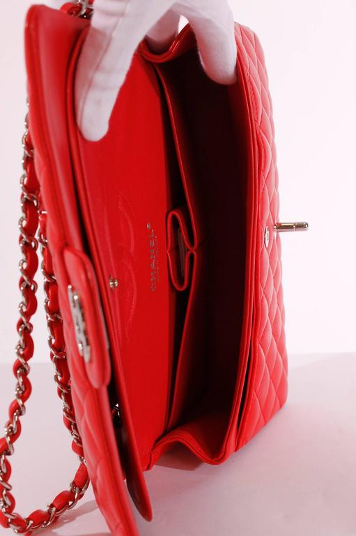 2005 Chanel 2.55 Medium Classic Double Flap Bag - red/silver 5