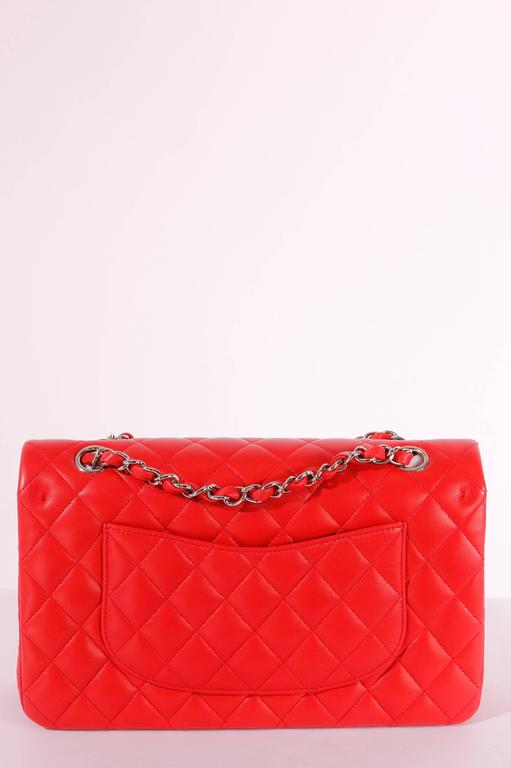 2005 Chanel 2.55 Medium Classic Double Flap Bag - red/silver 6