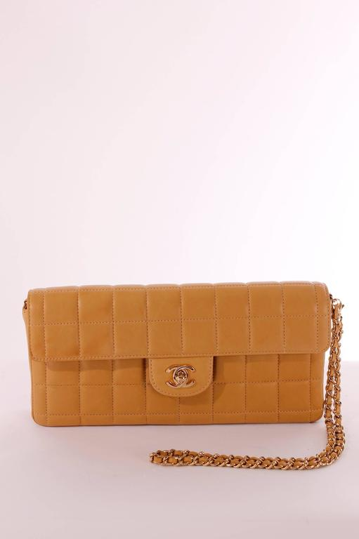 2003 Chanel East West Baguette Flap Clutch Bag in camel coloured lambskin leather, adorable!