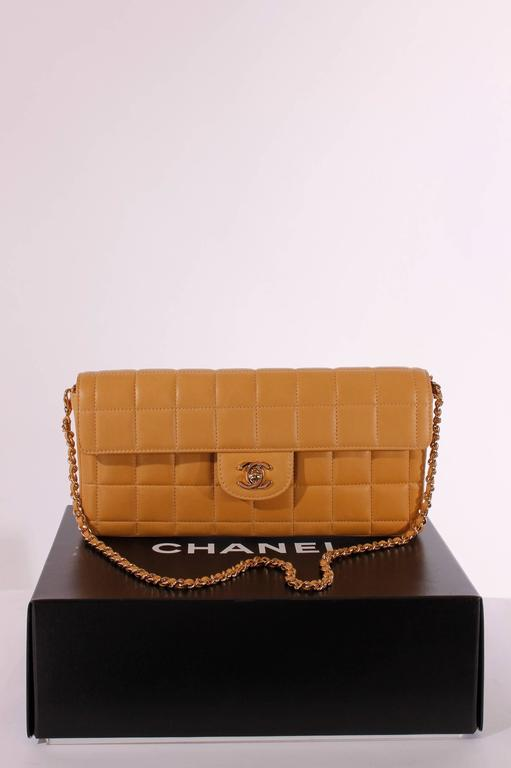 Brown 2003 Chanel E/W East West Baguette Flap Clutch Bag - camel/gold For Sale