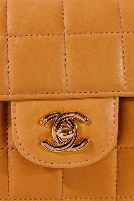2003 Chanel E/W East West Baguette Flap Clutch Bag - camel/gold For Sale 1