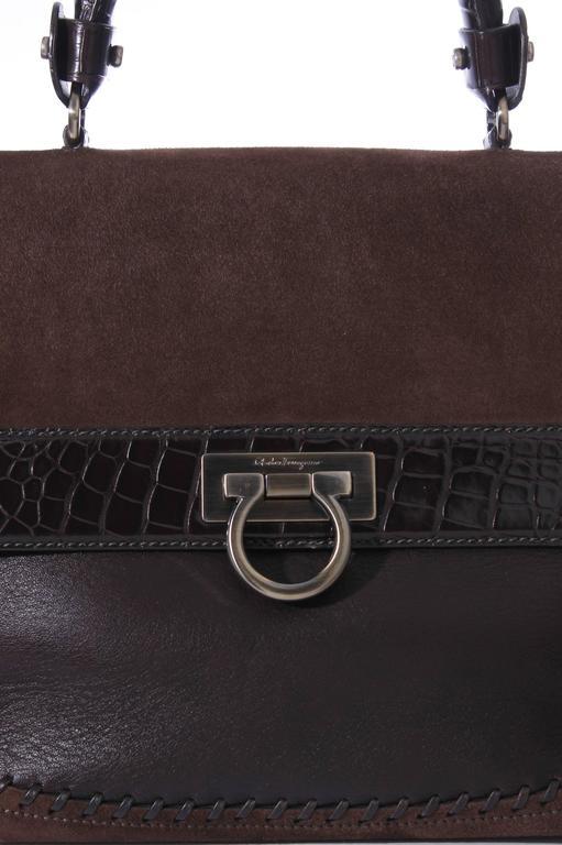 Salvatore Ferragamo Sofia Large Tote Bag - brown/croco/suede For Sale 3
