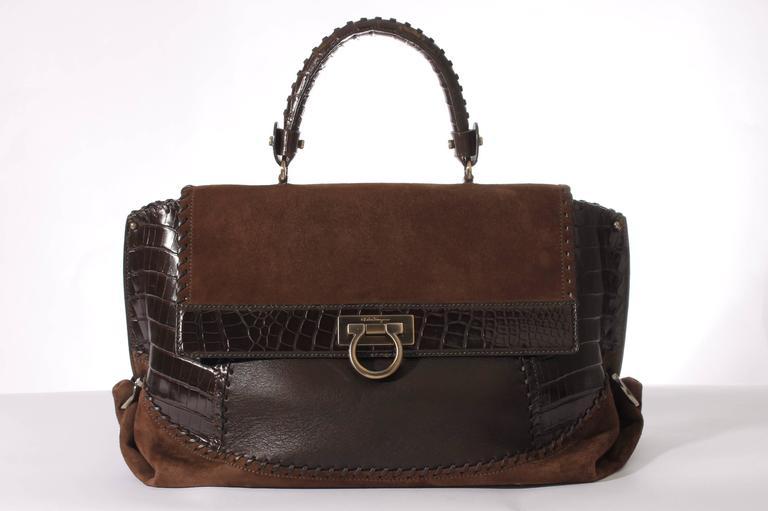 Black Salvatore Ferragamo Sofia Large Tote Bag - brown/croco/suede For Sale