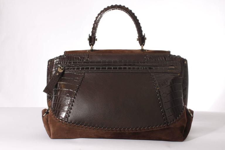 Salvatore Ferragamo Sofia Large Tote Bag - brown/croco/suede For Sale 2