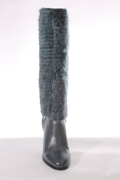 Black Salvatore Ferragamo Leonore Detachable Shaft Boot - petrol For Sale