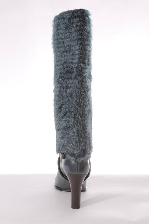 Salvatore Ferragamo Leonore Detachable Shaft Boot - petrol In New never worn Condition For Sale In Baarn, NL