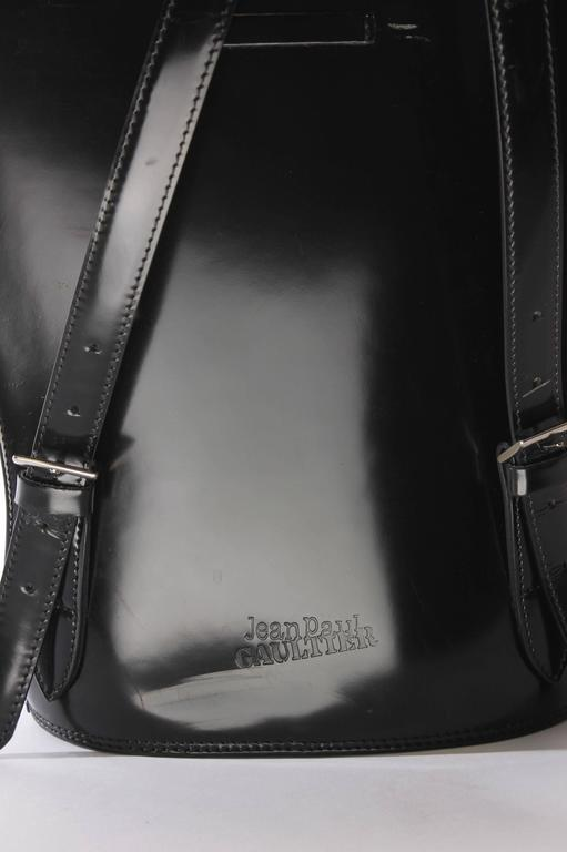 Jean Paul Gaultier Bustier Backpack - shiny black leather 1998 For Sale 1