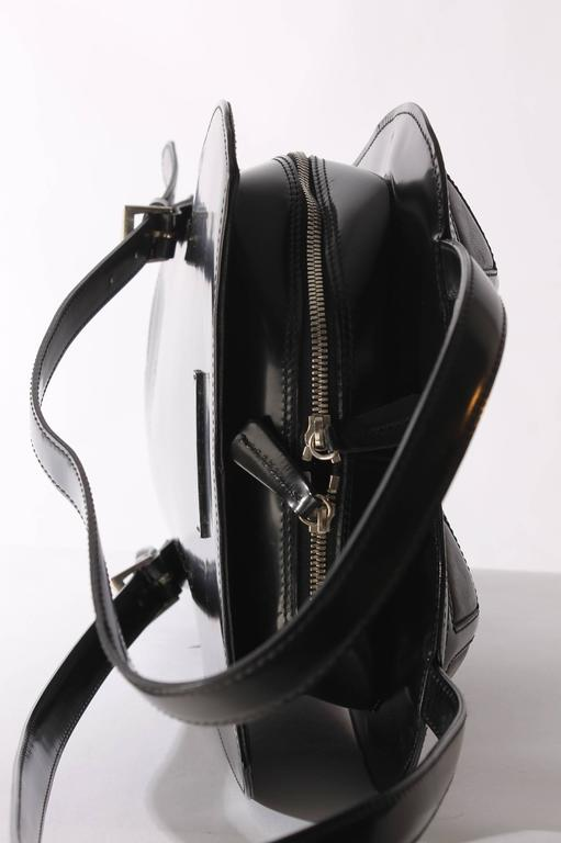 Jean Paul Gaultier Bustier Backpack - shiny black leather 1998 For Sale 2