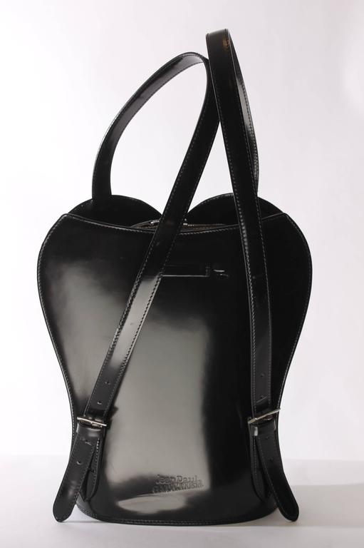 Jean Paul Gaultier Bustier Backpack - shiny black leather 1998 For Sale 3