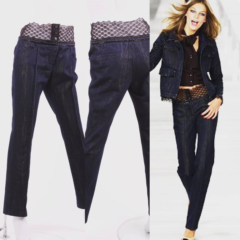 Women's or Men's Chanel Jeans Denim Pants - blue/gold & black lace For Sale