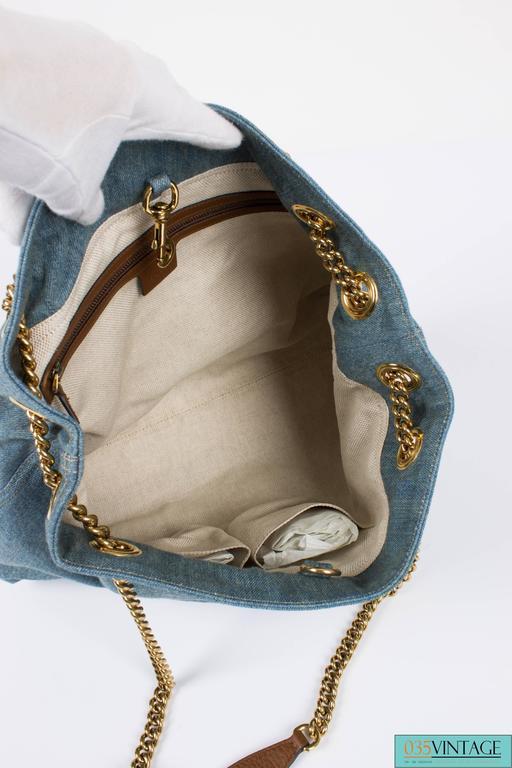Gray Gucci Blue Denim Medium Soho Tote Bag - blue denim/brown leather For Sale