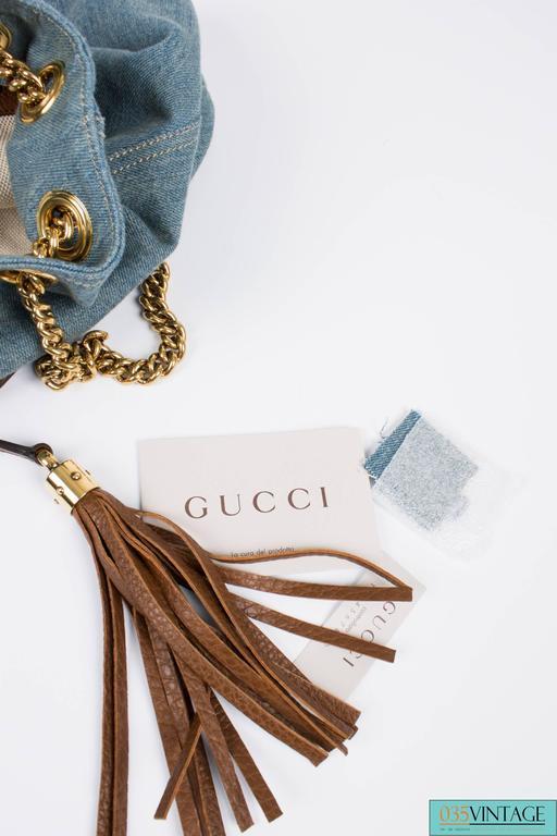 Gucci Blue Denim Medium Soho Tote Bag - blue denim/brown leather For Sale 2